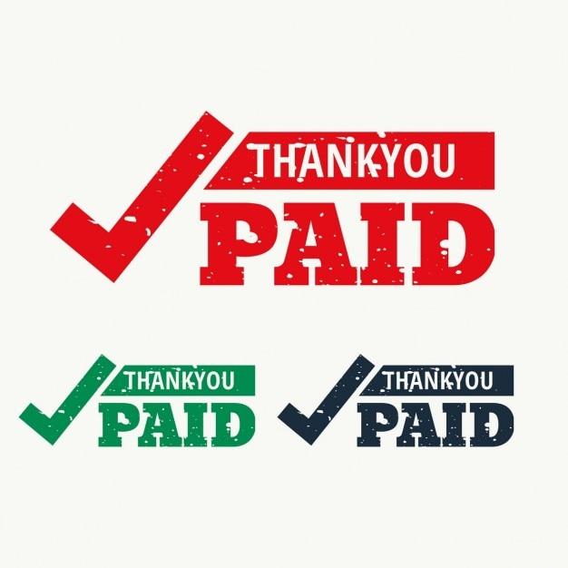 Thankyou e pago vector selo Vetor grátis