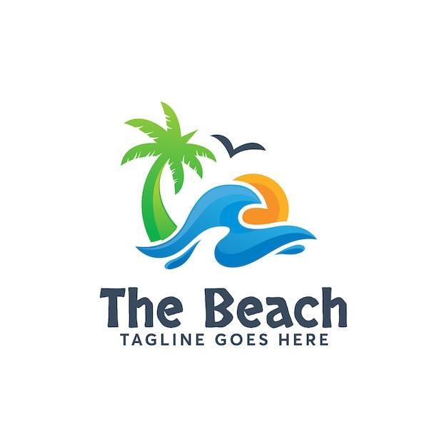 The beach logo template design moderno férias de verão Vetor Premium