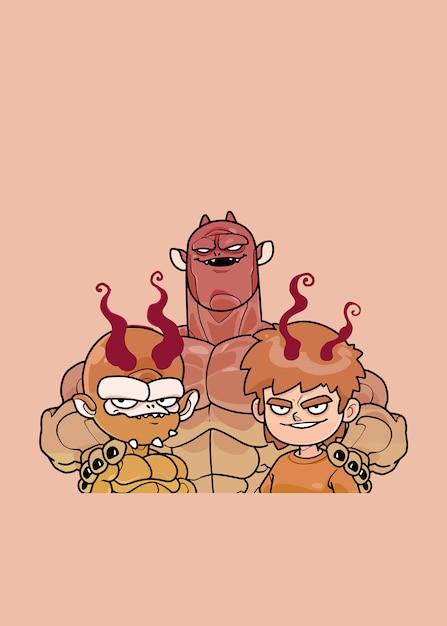 The devil family Vetor Premium