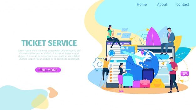Ticket booking service bandeira de web vector plana Vetor Premium