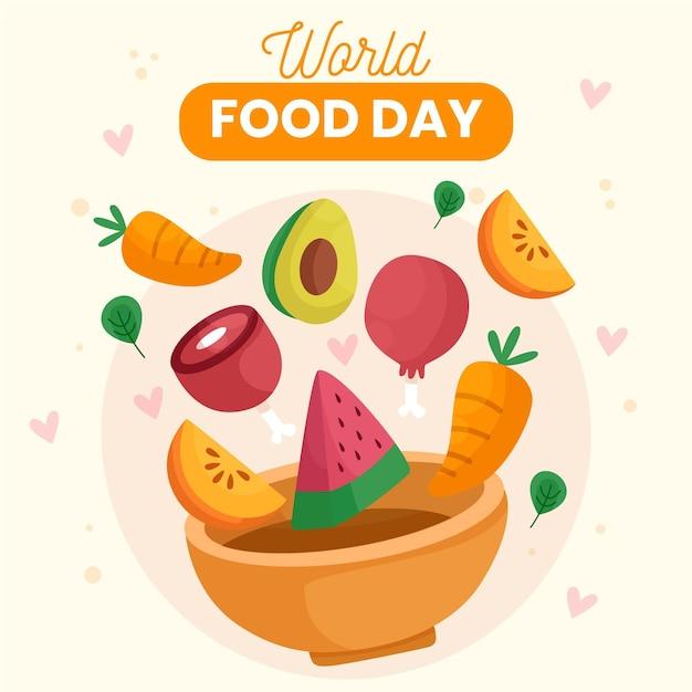 Tigela com vegetais e conceito do dia mundial da comida de frutas Vetor Premium