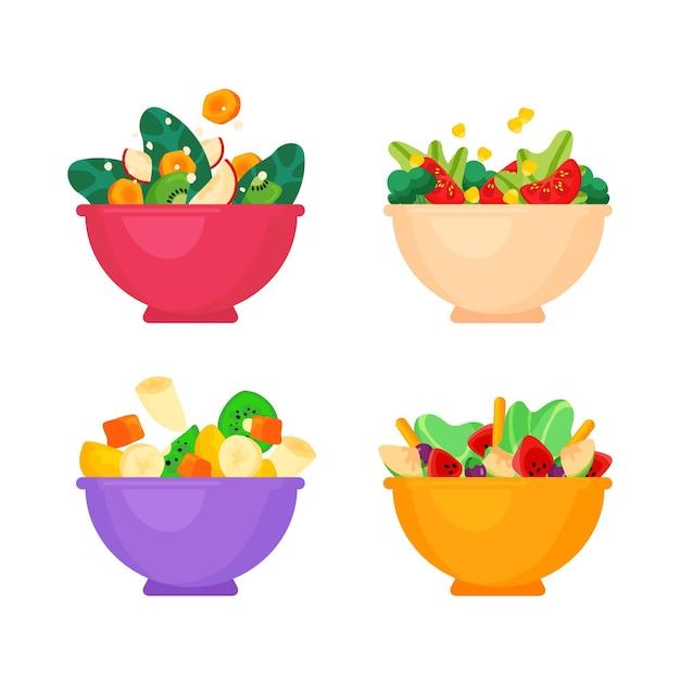 Tigelas de frutas e saladas Vetor grátis