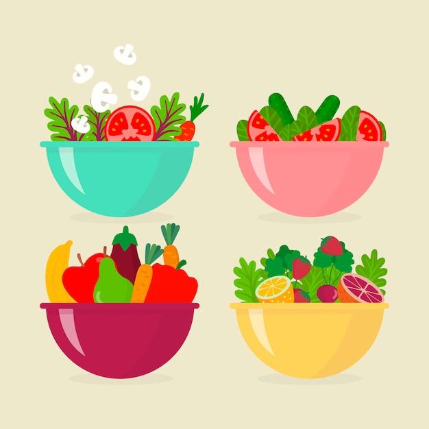 Tigelas de salada de frutas Vetor grátis