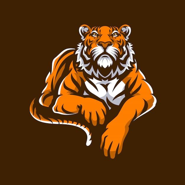 Tiger mascot logo sport. Vetor Premium