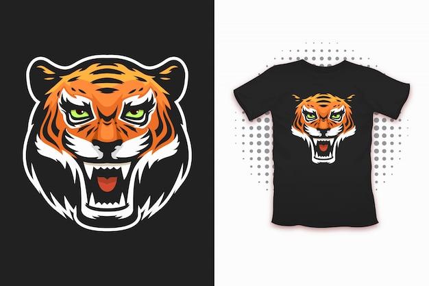 Tiger print para design de t-shirt Vetor Premium