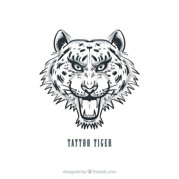 Tiger tatuagem cabeça Vetor grátis