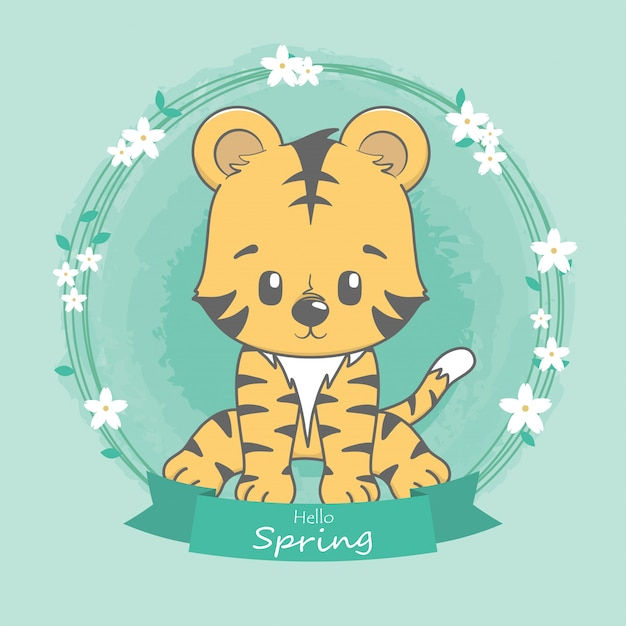 Tigre bonito olá primavera mão de desenhos animados desenhada Vetor Premium
