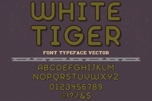 Tigre branco do projeto da fonte da tipografia do vintage Vetor Premium