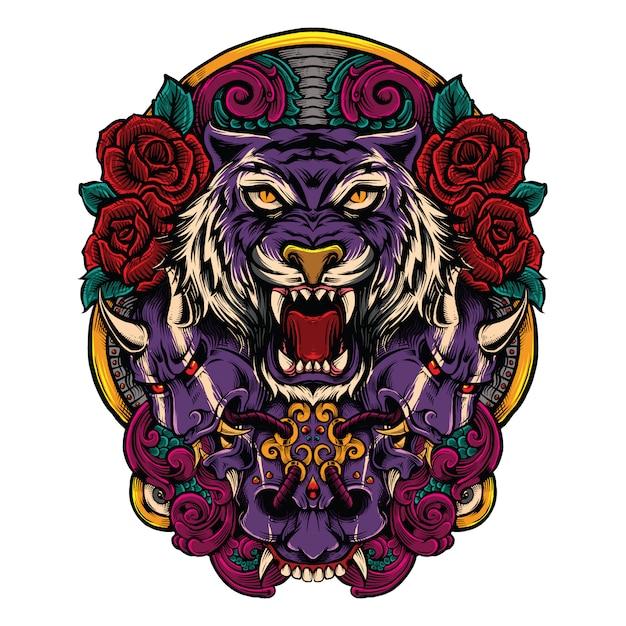 Tigre com máscara japonesa do mal com ilustração de combinação de obras de arte de rosas Vetor Premium