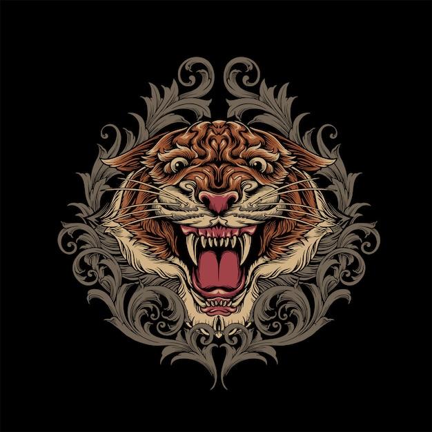 Tigre com ornamento Vetor Premium