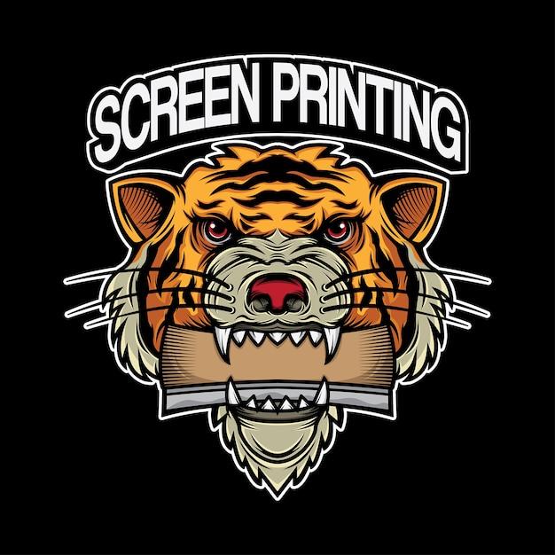 Tigre da cabeça do projeto do logotipo da impressão da tela Vetor Premium