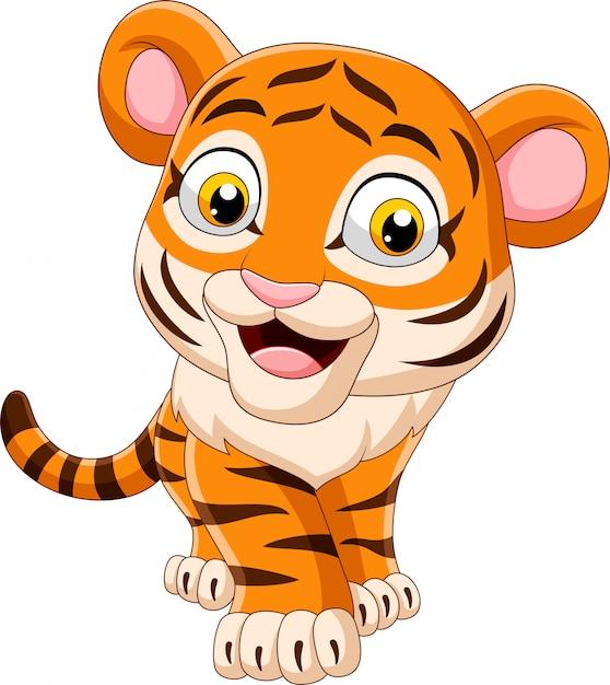 Tigre de bebê engraçado dos desenhos animados Vetor Premium