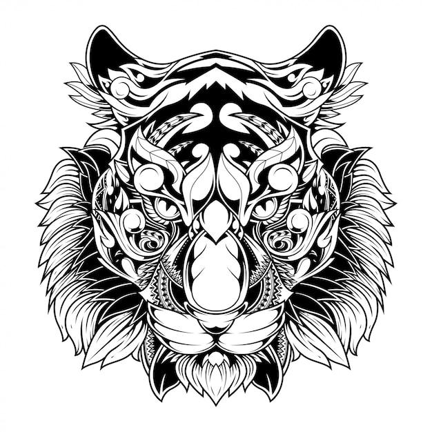 Tigre doodle ornamento ilustração, tatuagem e tshirt design Vetor Premium