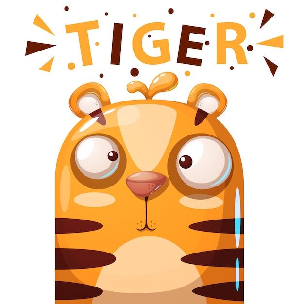 Tigre fofo personagem cartoon ilustração Vetor Premium