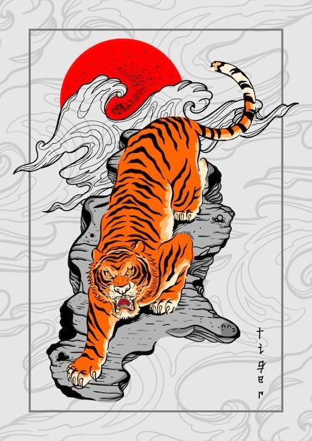 Tigre japão estilo tatuagem fundo Vetor Premium