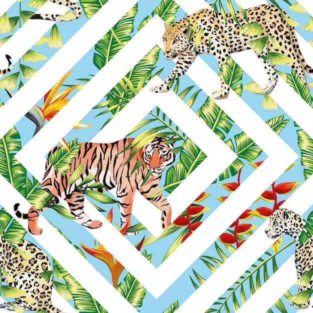 Tigre leopardo padrão sem emenda tropical deixa geométricas Vetor Premium