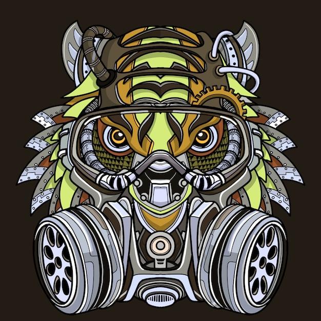 Tigre na ilustração da máscara de gás. Vetor Premium