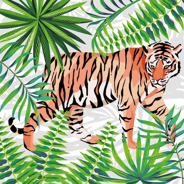 Tigre na ilustração da selva tropical Vetor Premium