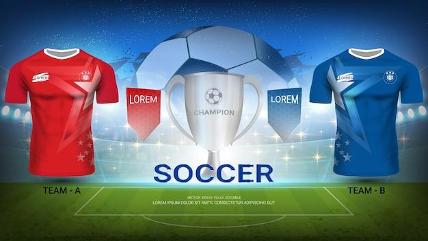 Time de futebol a vs equipe b, final do torneio sport match Vetor Premium