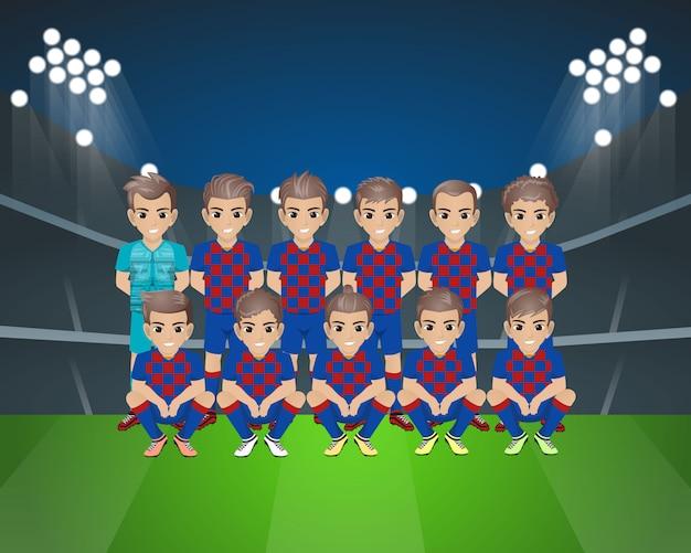 Time de futebol do barcelona Vetor Premium