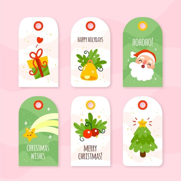 Tinha desenhado coleção de etiquetas de venda de natal Vetor grátis
