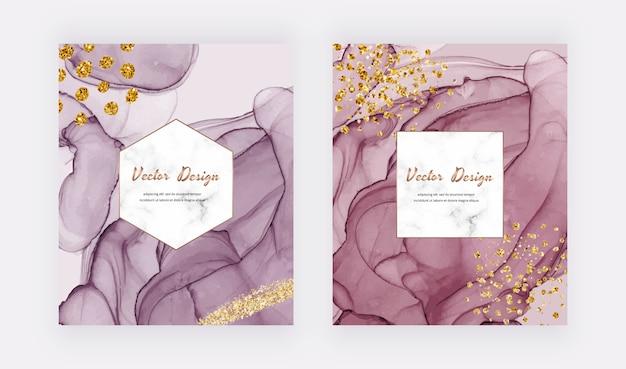 Tinta de álcool rosa e vermelho com textura de glitter dourados, cartões de confete com moldura de mármore geométrica. projeto aquarela abstrato moderno. Vetor Premium