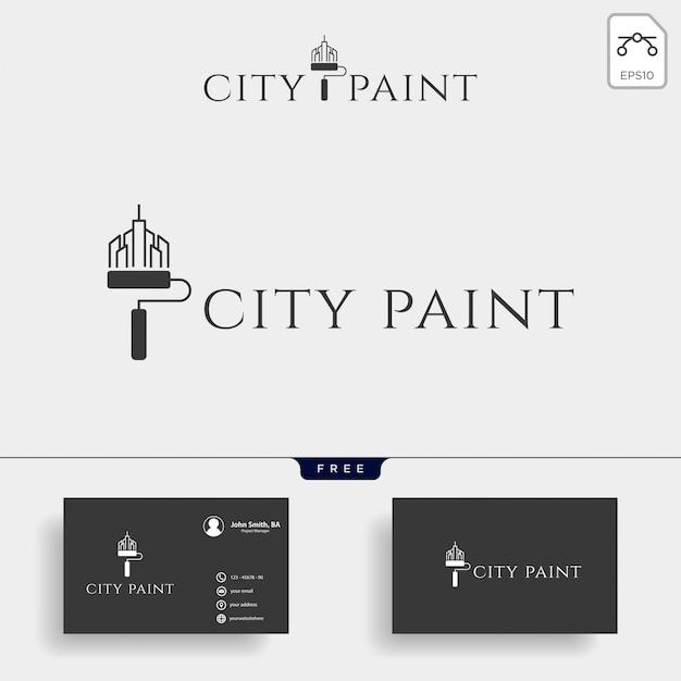 Tinta pincel colorido logotipo modelo vector elemento ícone Vetor Premium