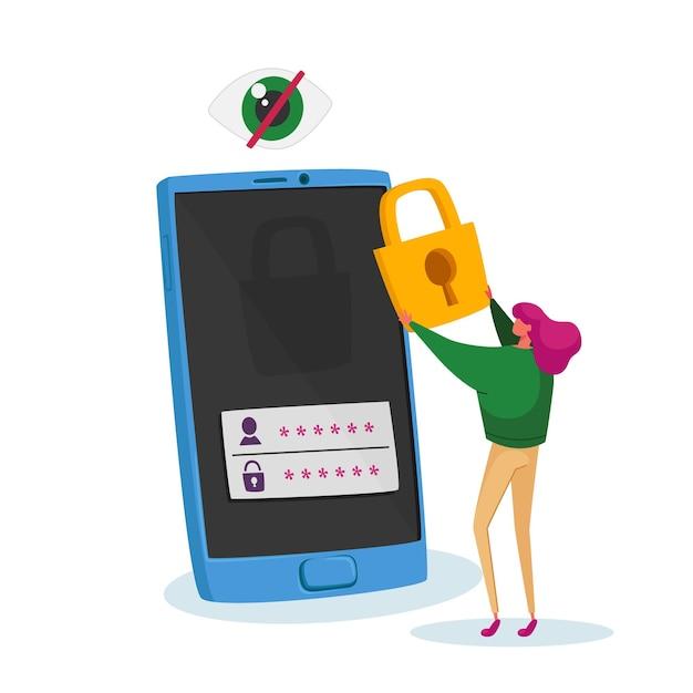 Tiny woman character stand no enorme celular coloque o cadeado na tela com a senha Vetor Premium