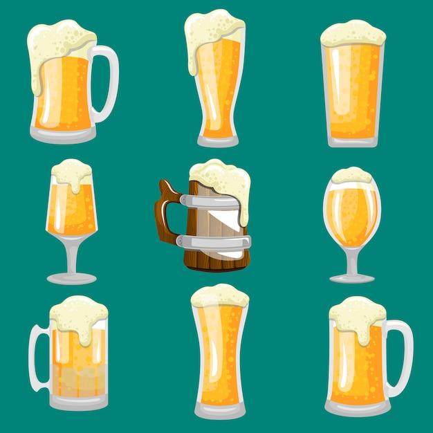 Tipo de conjunto de vetor de estoque de copo de cerveja Vetor Premium