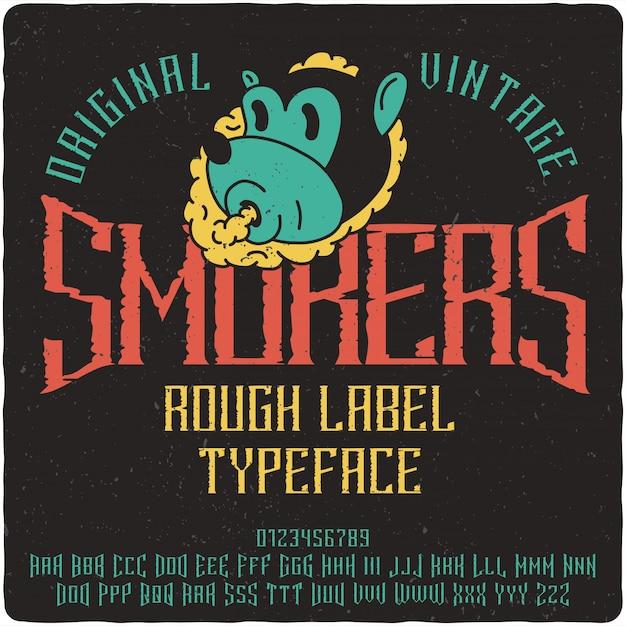 Tipo de etiqueta de fumantes Vetor Premium