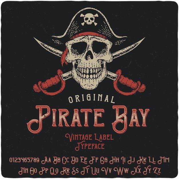 Tipo de etiqueta pirate bay Vetor Premium
