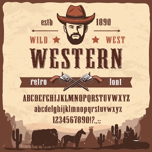 Tipo de fonte ocidental wild west style letters, numbers Vetor Premium