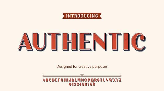 Tipo de letra autêntico. para fins criativos Vetor Premium