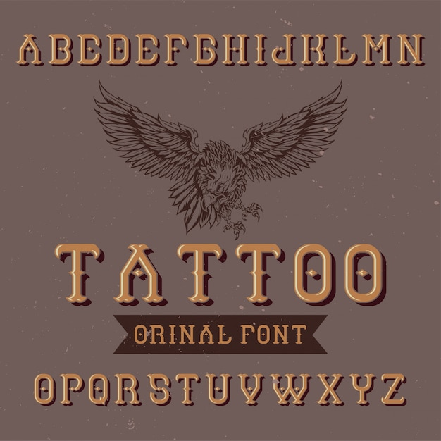 Tipo de letra da etiqueta original com o nome '