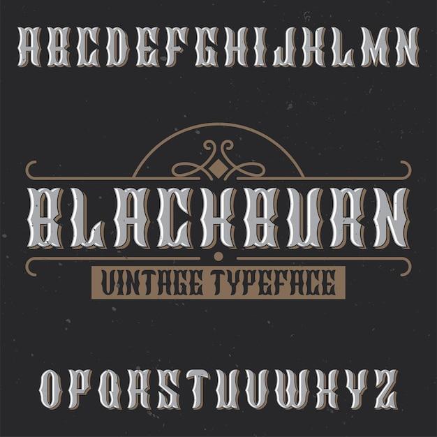 Tipo de letra de rótulo vintage chamado blackburn Vetor grátis