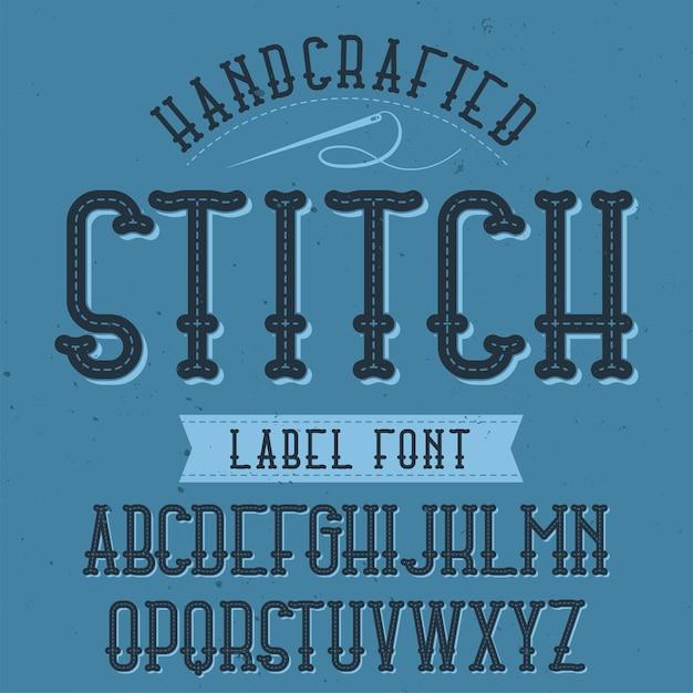 Tipo de letra de rótulo vintage chamado stitch Vetor grátis