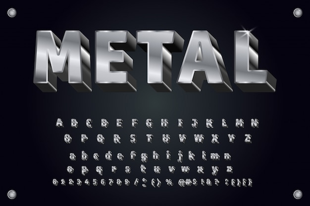 Tipo de letra do metal 3d tipografia em negrito Vetor Premium