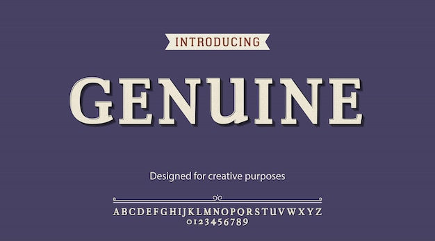 Tipo de letra genuíno. para fins criativos Vetor Premium