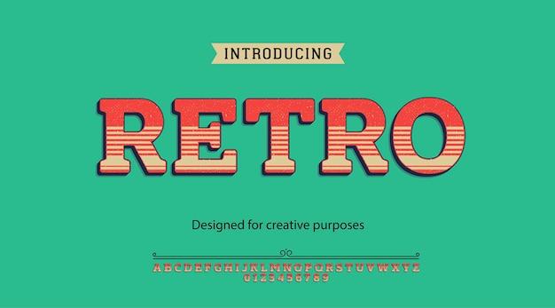 Tipo de letra retrô. para fins criativos Vetor Premium