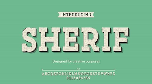 Tipo de letra sherif. para fins criativos Vetor Premium