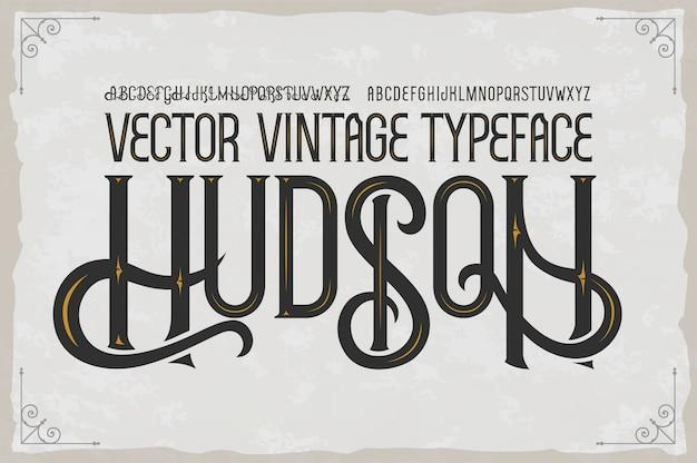 Tipo de letra vintage hudson Vetor Premium