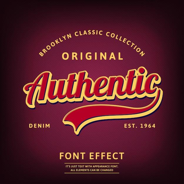 Tipo de logotipo autêntica script retro Vetor Premium