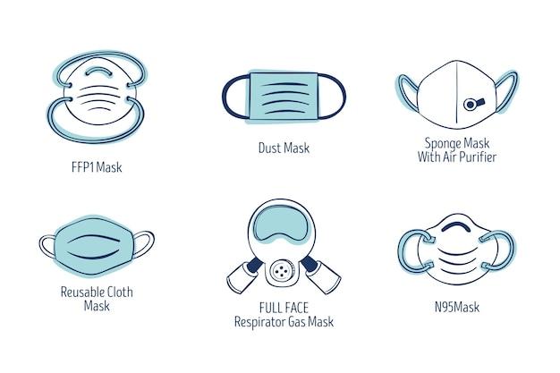 Tipo de máscaras faciais Vetor grátis