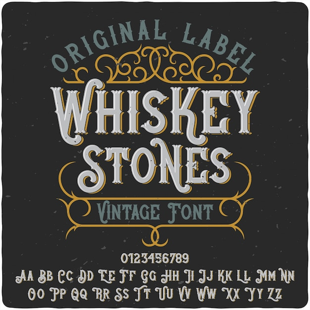 Tipo de rótulo de whisky stones Vetor Premium