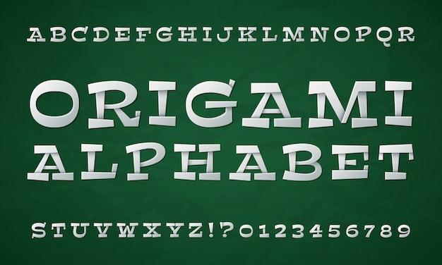 Tipo dobrado dos desenhos animados. fonte de papel branco. letras e números do origami 3d. alfabeto retrô de vetor Vetor Premium