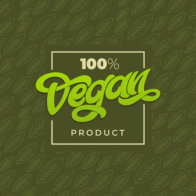 Tipografia 100 vegan product. publicidade em loja vegana. verde padrão sem emenda com folha. letras manuscritas para restaurante, menu de café. elementos para etiquetas, logotipos, emblemas, adesivos ou ícones. Vetor Premium