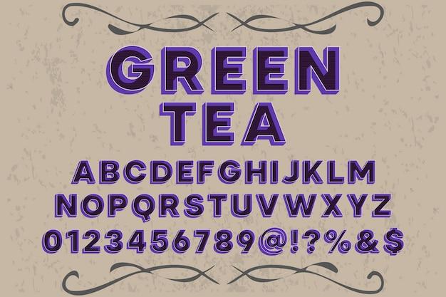 Tipografia artesanal de chá verde Vetor Premium