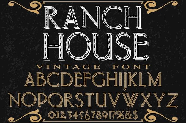 Tipografia artesanal tipografia fonte projeto rancho casa Vetor Premium