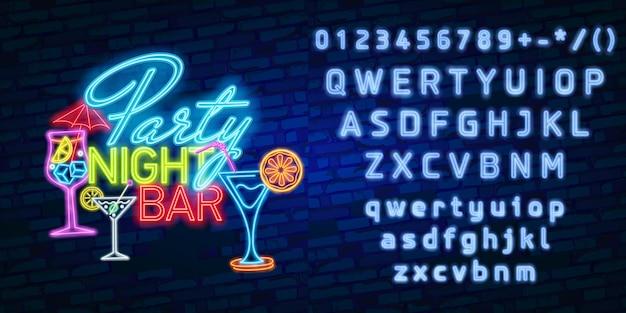Tipografia de alfabeto de fonte de néon com festa à noite bar sinal de néon, tabuleta brilhante Vetor Premium