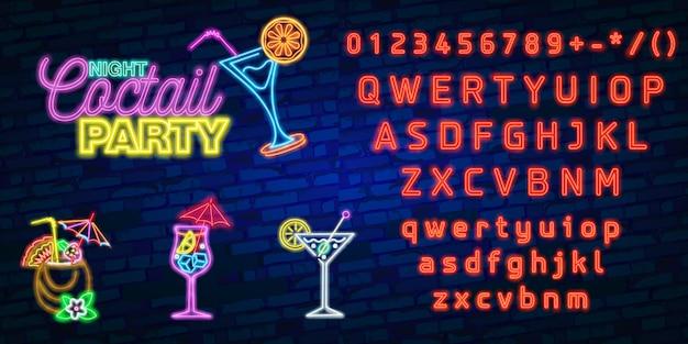 Tipografia de alfabeto de fonte de néon com noite coquetel neon sign, tabuleta brilhante Vetor Premium